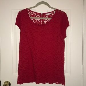 NY & Co red lace top